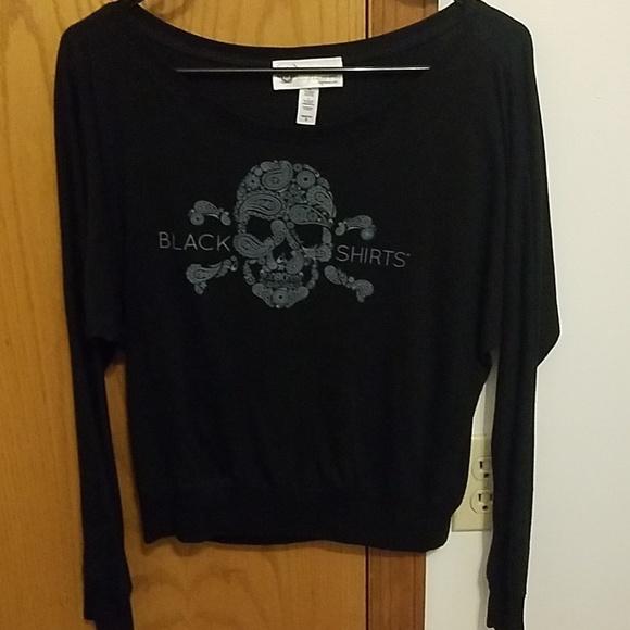 b5a137f0b8418 too trendi Tops | Nebraska Husker Black Shirts Long Sleeve Tee ...
